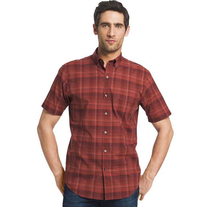 Big tall van heusen lux touch classic fit plaid button for Van heusen plaid shirts