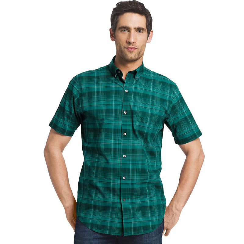 Big & Tall Van Heusen Lux-Touch Classic-Fit Plaid Button-Down Shirt