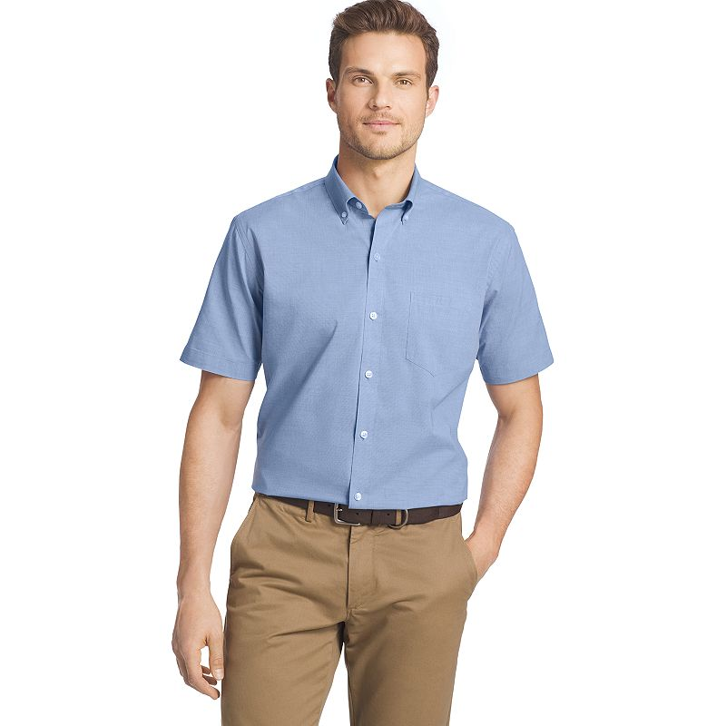 Big & Tall Van Heusen Lux Touch Easy-Care Solid Button-Down Shirt