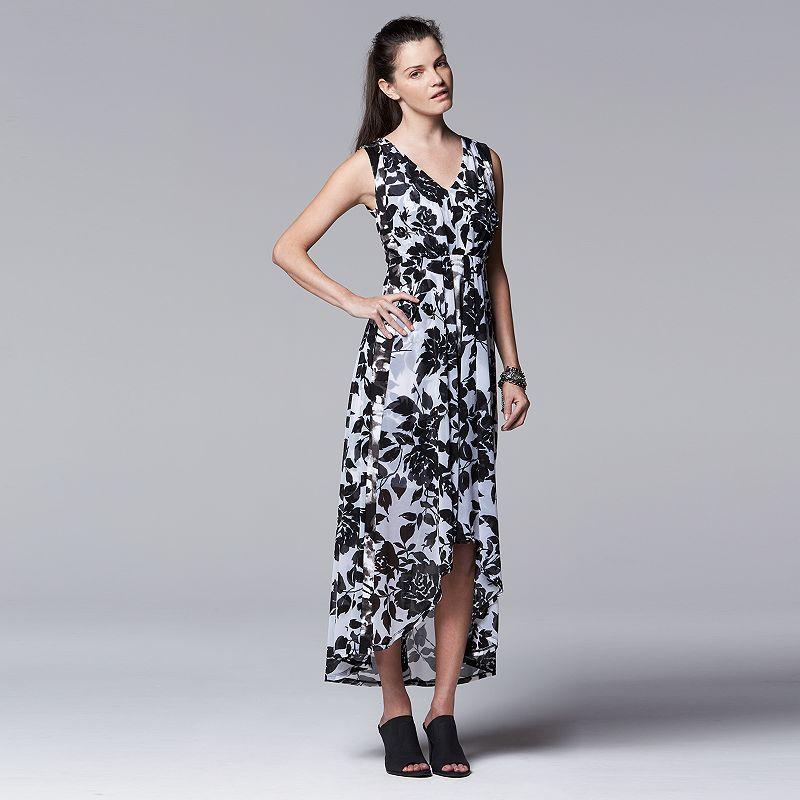 Petite Simply Vera Vera Wang Mixed-Media Maxi Dress