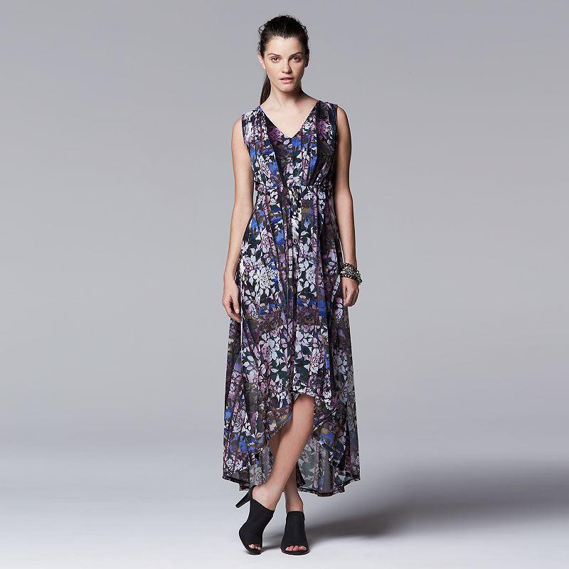 Petite Simply Vera Vera Wang Mixed-Media Maxi Dress