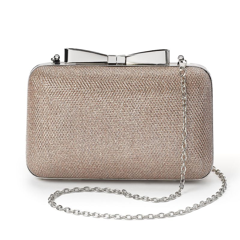 Lenore by La Regale Glitter Metallic Minaudier Clutch