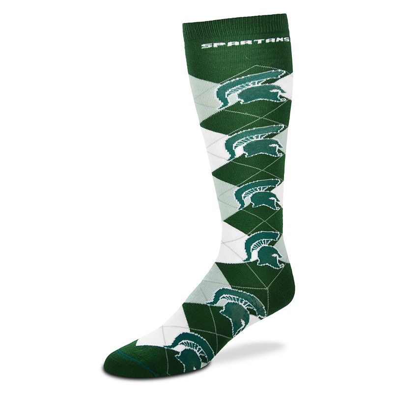 Women's For Bare Feet Michigan State Spartans Argyle Knee-High Socks