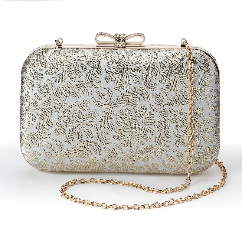 Lenore by La Regale Metallic Jacquard Minaudier Clutch