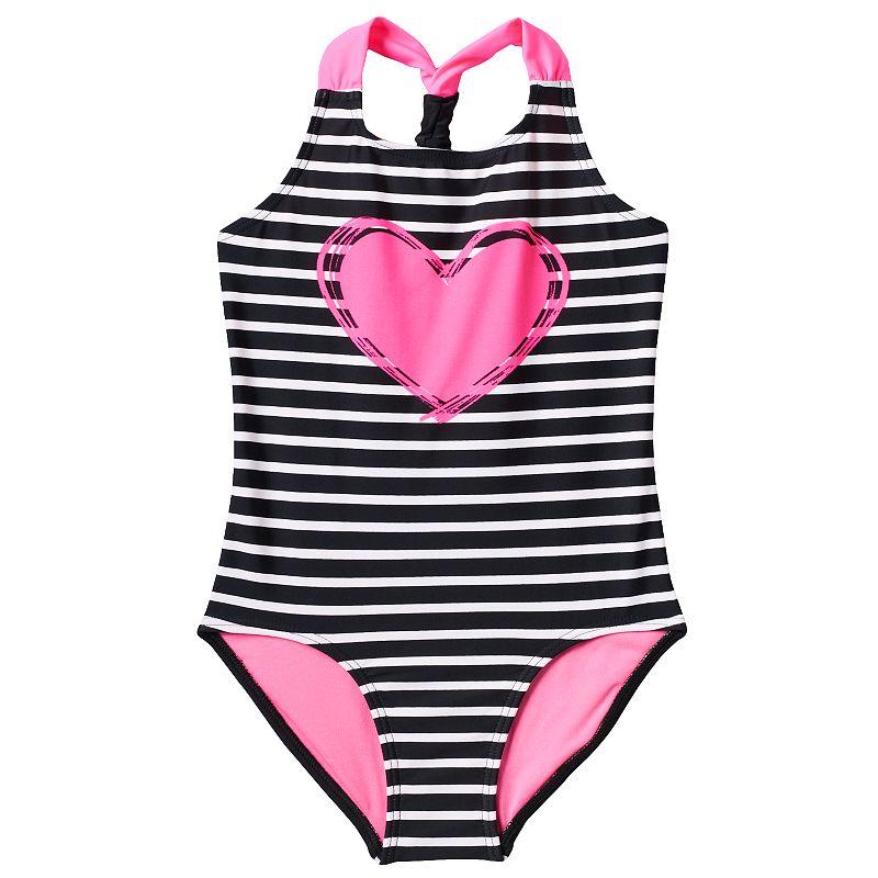 Girls 4-6x St. Tropez Scrunchie Racerback Striped Heart One-Piece Swimsuit