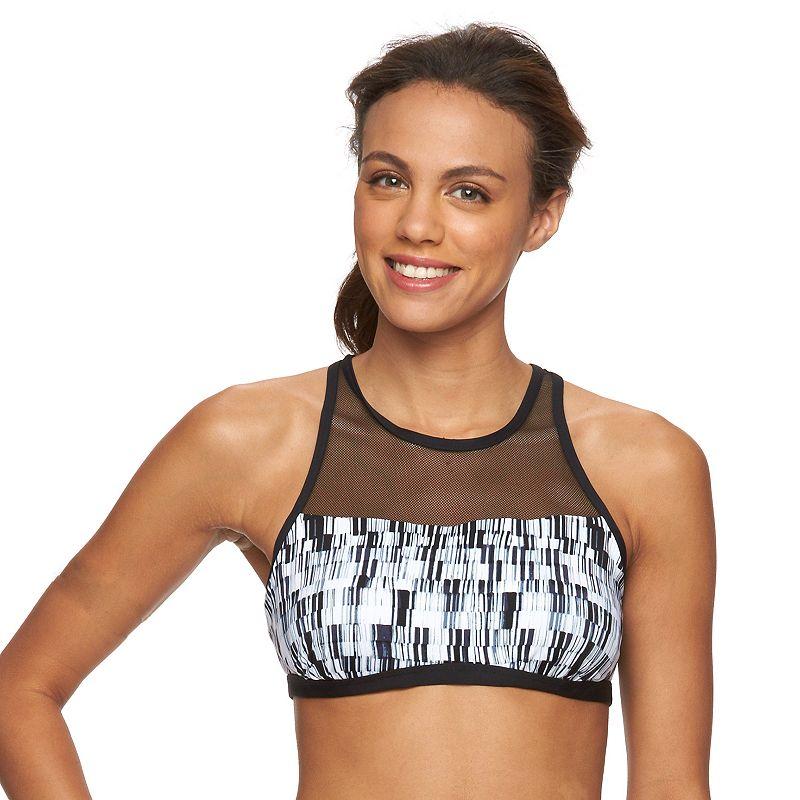 Women's Tek Gear® Geometric Striped High-Neck Bikini Top