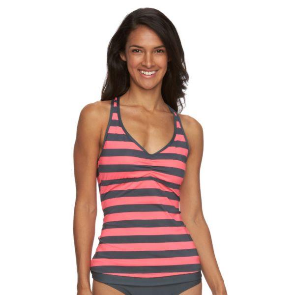 Women's N Striped Ladderback Tankini Top