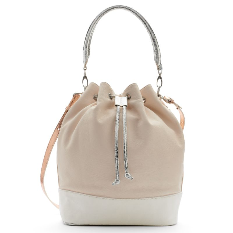 Adrienne Landau Calypso Leather Bucket Bag, Women's, White