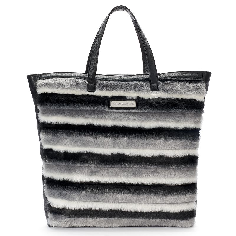 Adrienne Landau Striped Faux-Fur Tote