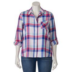 Juniors' Plus Size SO® Plaid Button Down Roll-Tab Shirt