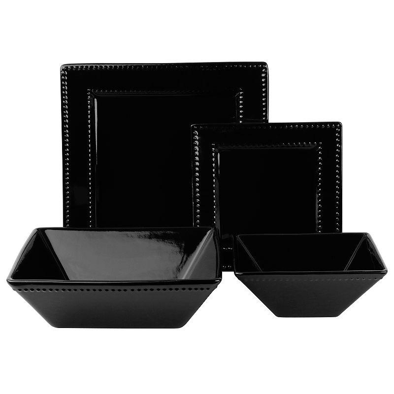 10 Strawberry Street Nova Beaded 19-pc. Square Dinnerware Set
