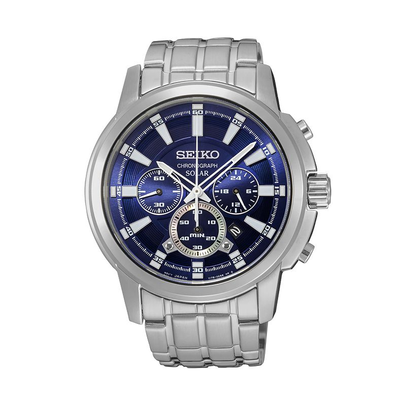 Seiko Men's Core Stainless Steel Solar Chronograph Watch - SSC387