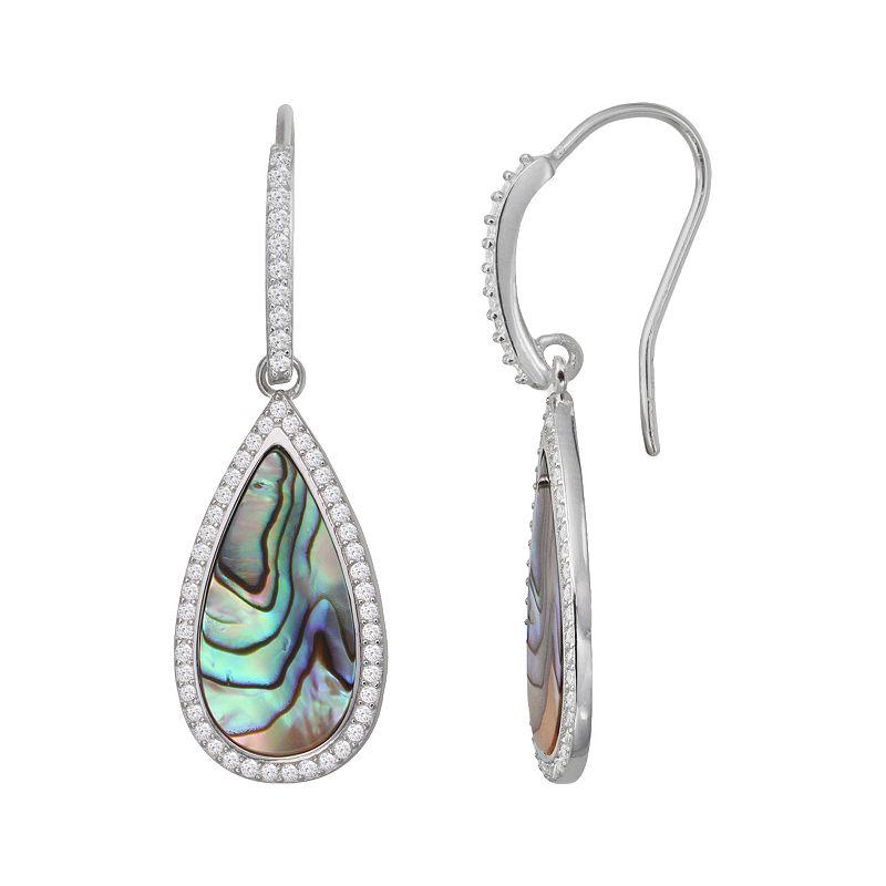 Sterling Silver Cubic Zirconia & Abalone Teardrop Earrings