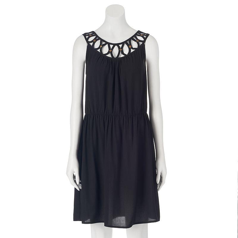 AB Studio Lattice-Trim Challis Dress - Women's