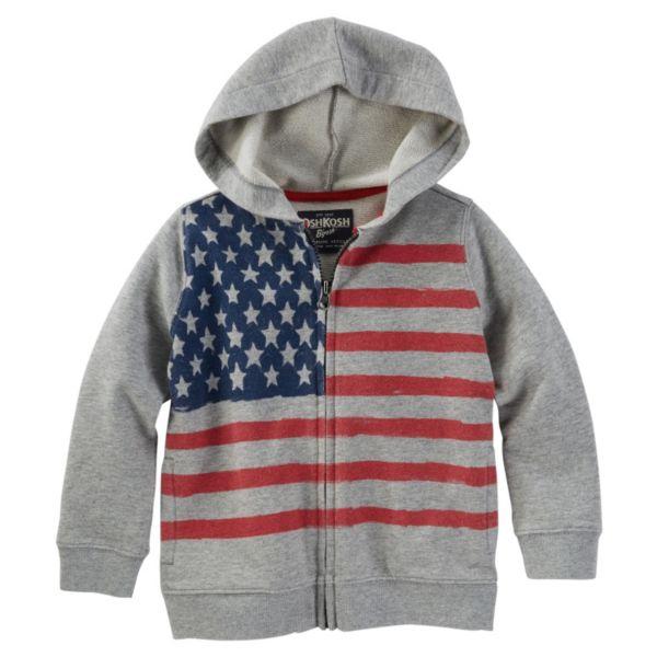 Toddler Boy OshKosh B'gosh® Patriotic American Flag Zip-Front Hoodie