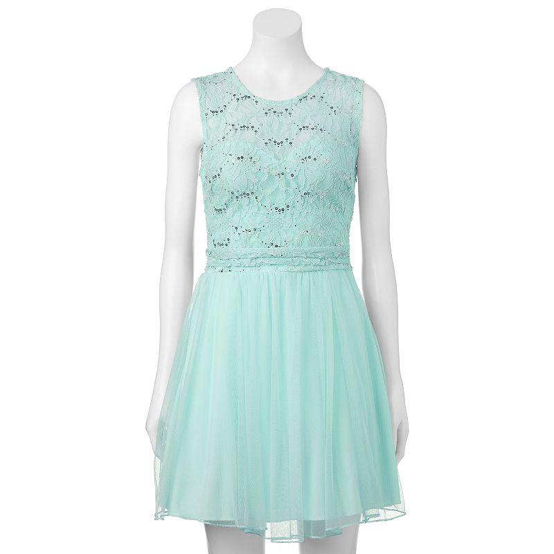 Juniors' Speechless Open-Back Glitter Dress
