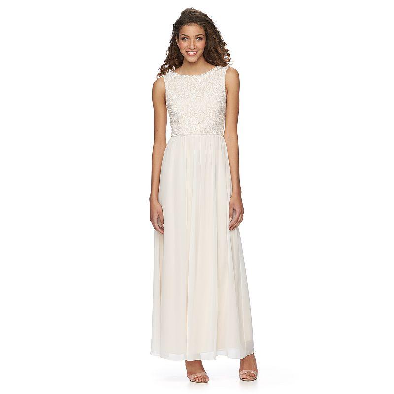 Juniors' Speechless Lace & Chiffon Long Dress