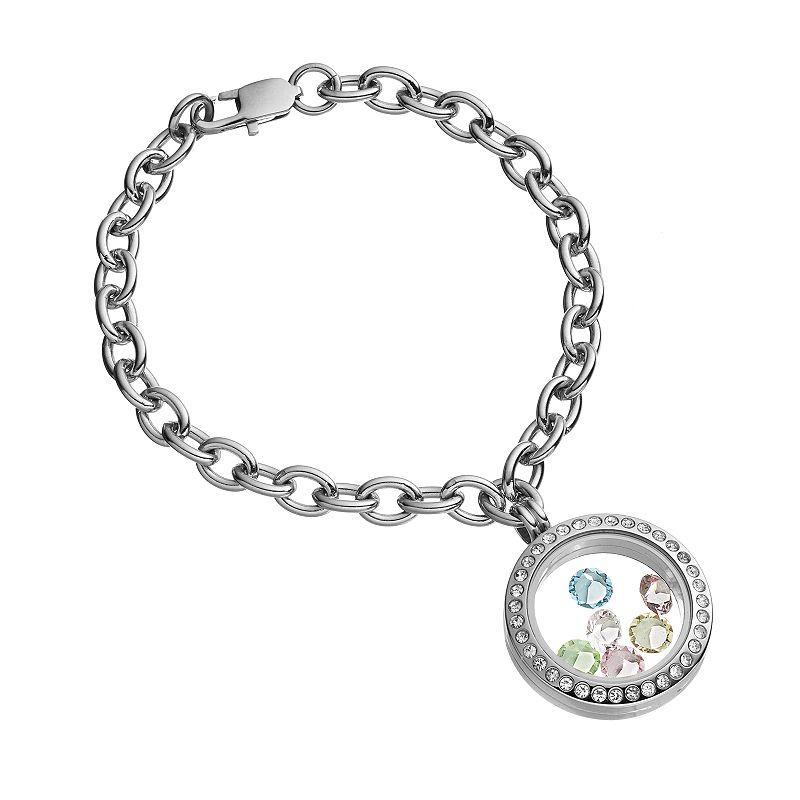 Blue La Rue Crystal Stainless Steel 1-in. Round Charm Locket Chain Bracelet - Made with Swarovski Elements