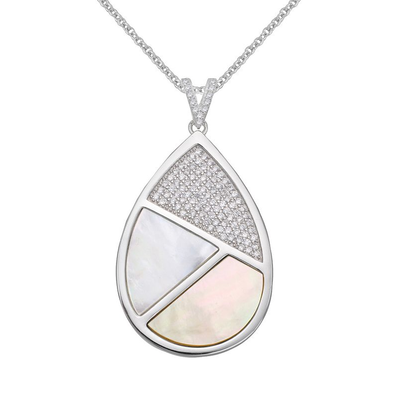 Sterling Silver Cubic Zirconia & Mother-of-Pearl Teardrop Pendant