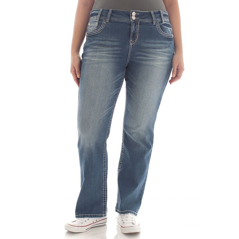 Juniors' Plus Size Wallflower Luscious Curvy 2-Button Bootcut Jeans