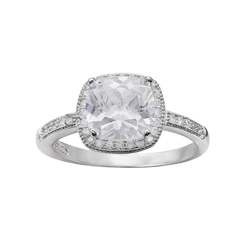 Cubic Zirconia Halo Ring