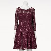 Women's Expo Lace Sequin Fit & Flare Dress