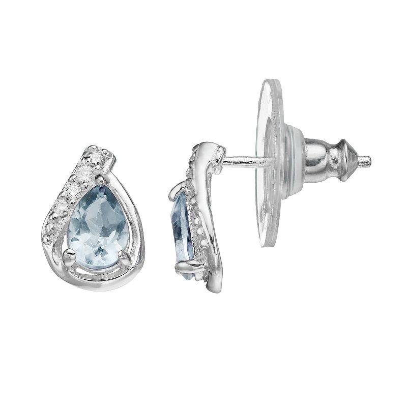 Sterling Silver Blue Topaz & Cubic Zirconia Teardrop Earrings