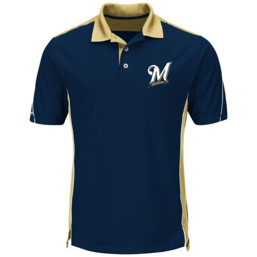 Men's Majestic Milwaukee Brewers To The 10th Power Performance Polo