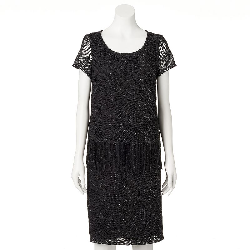 Women's Perceptions Lace Fringe Shift Dress