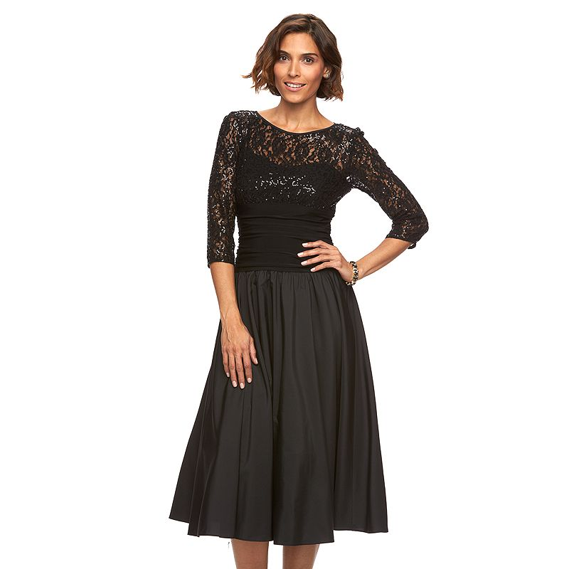 Women's Jessica Howard Lace Illusion Fit & Flare Dress