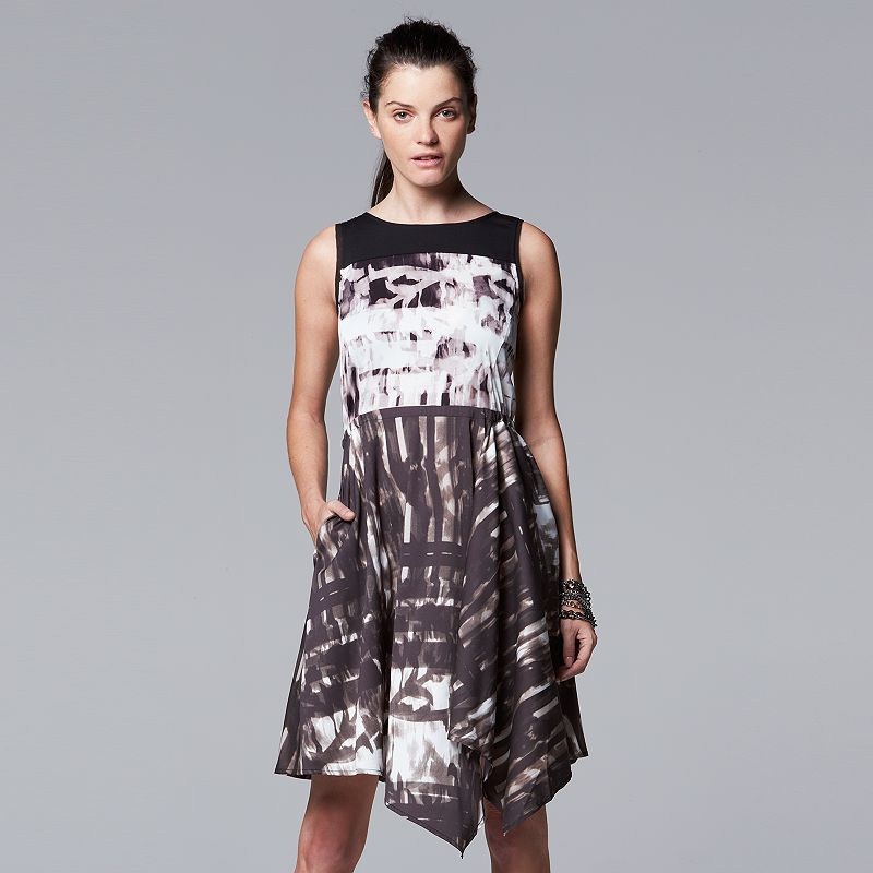Women's Simply Vera Vera Wang Print Draped-Hem Dress