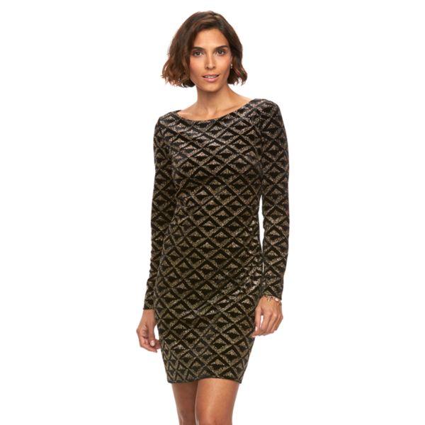 Women's Jessica Howard Velvet Glitter Shift Dress