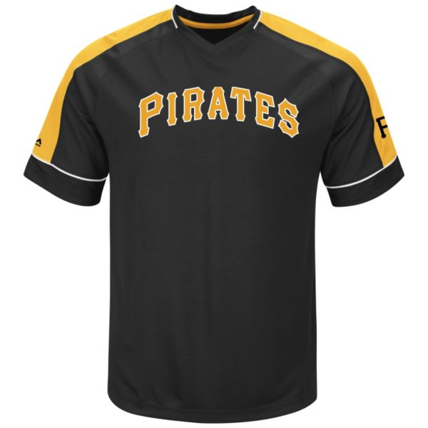 Men's Majestic Pittsburgh Pirates Lead Hitter V-Neck Raglan Top