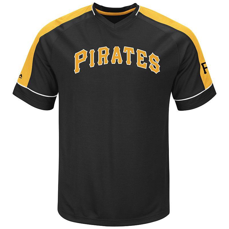 Men's Majestic Pittsburgh Pirates Lead Hitter V-Neck Raglan Top