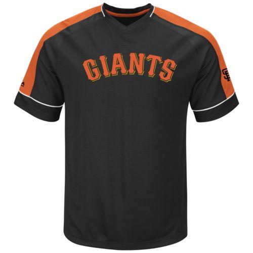 Men's Majestic San Francisco Giants Lead Hitter V-Neck Raglan Top
