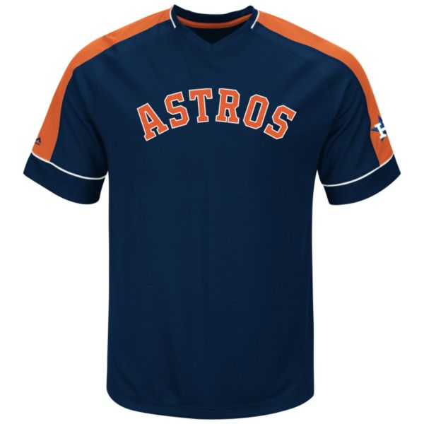 Men's Majestic Houston Astros Lead Hitter V-Neck Raglan Top