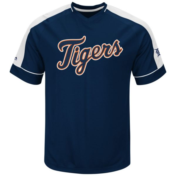 Men's Majestic Detroit Tigers Lead Hitter V-Neck Raglan Top