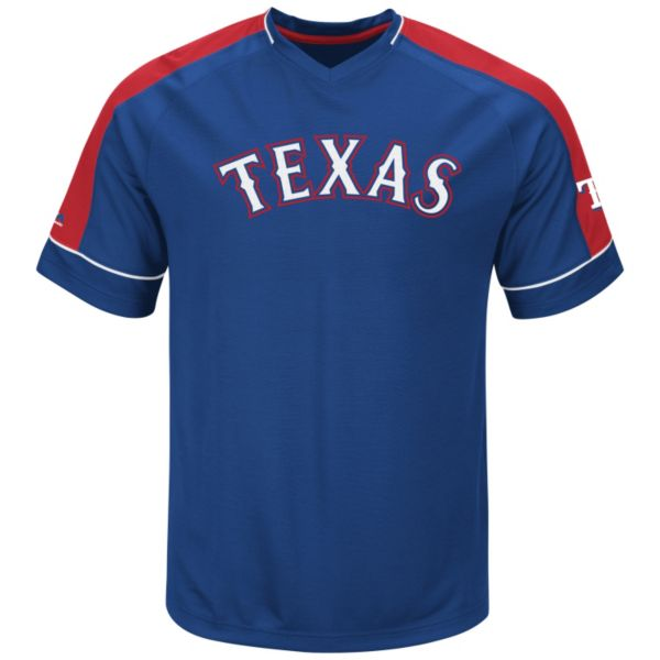 Men's Majestic Texas Rangers Lead Hitter V-Neck Raglan Top