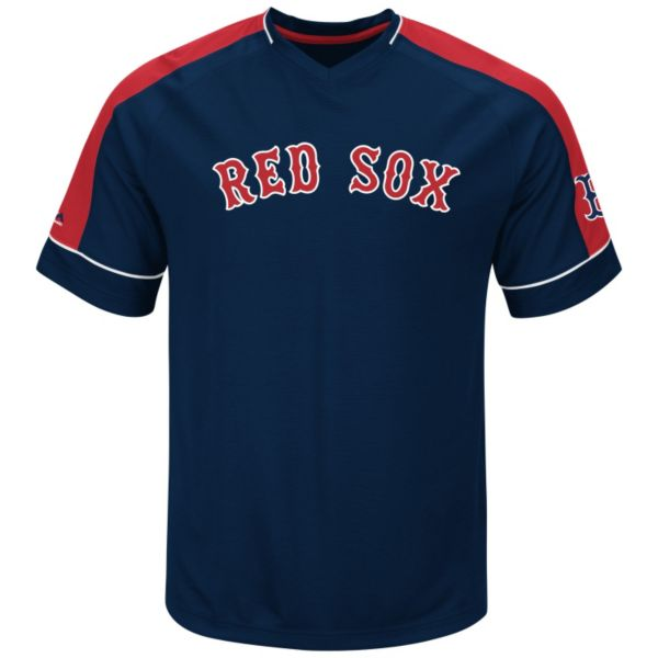 Men's Majestic Boston Red Sox Lead Hitter V-Neck Raglan Top