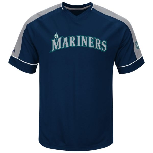 Men's Majestic Seattle Mariners Lead Hitter V-Neck Raglan Top