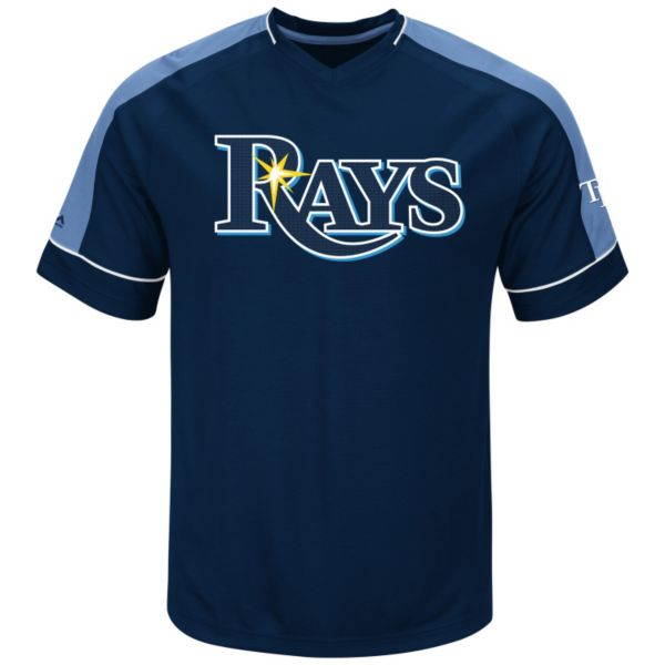 Men's Majestic Tampa Bay Rays Lead Hitter V-Neck Raglan Top