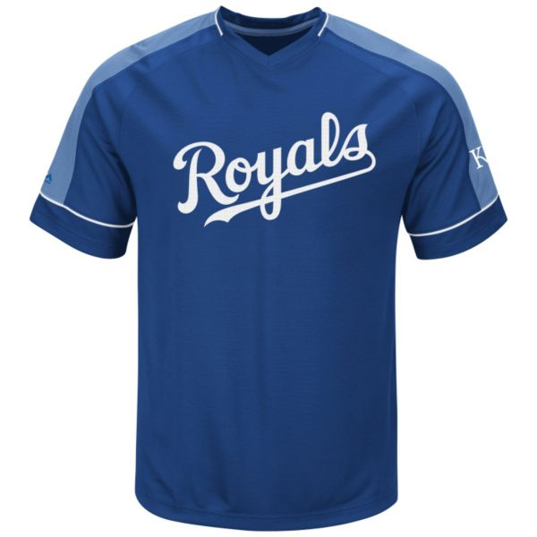 Men's Majestic Kansas City Royals Lead Hitter V-Neck Raglan Top