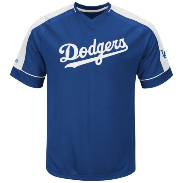 Men's Majestic Los Angeles Dodgers Lead Hitter V-Neck Raglan Top