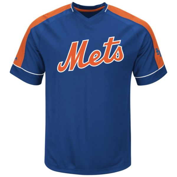 Men's Majestic New York Mets Lead Hitter V-Neck Raglan Top