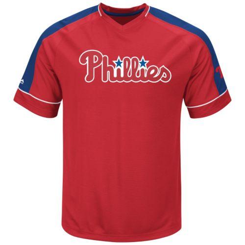 Men's Majestic Philadelphia Phillies Lead Hitter V-Neck Raglan Top