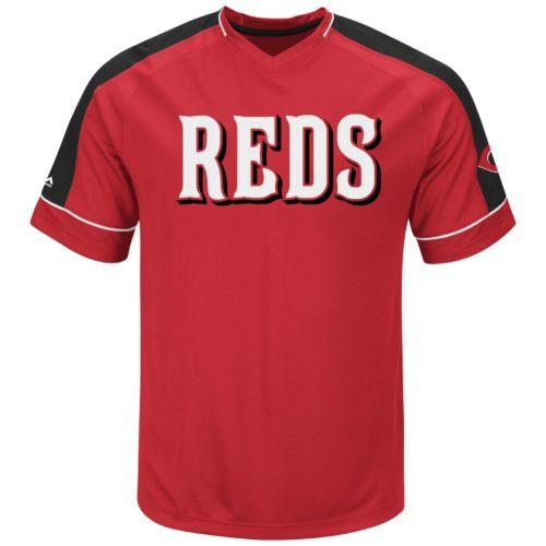 Men's Majestic Cincinnati Reds Lead Hitter V-Neck Raglan Top