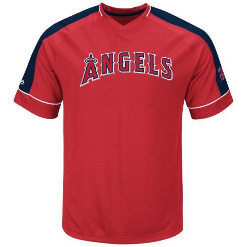 Men's Majestic Los Angeles Angels of Anaheim Lead Hitter V-Neck Raglan Top