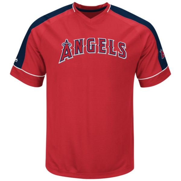 Men's Majestic Los Angeles Angels of Anaheim Lead Hitter V-Neck Raglan Top