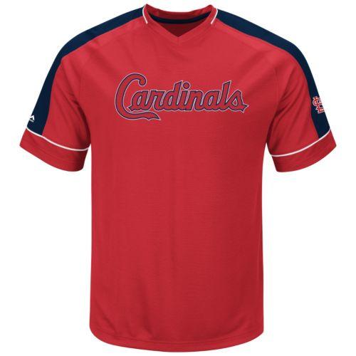 Men's Majestic St. Louis Cardinals Lead Hitter V-Neck Raglan Top