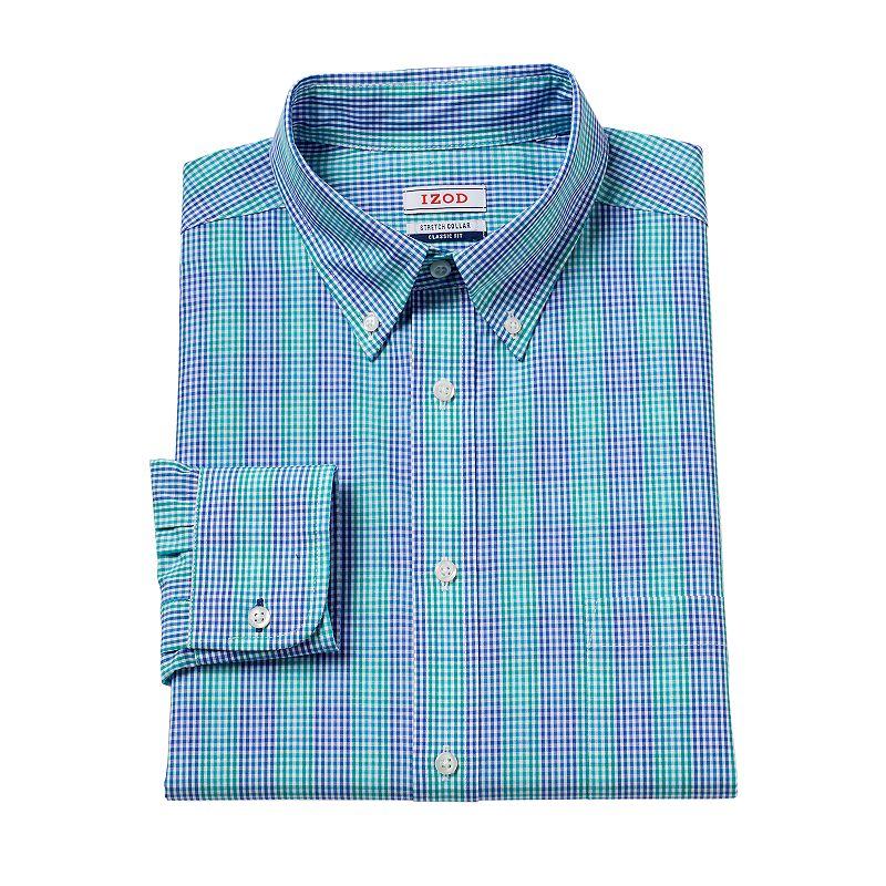 Men's IZOD Athletic-FIt Patterned Stretch-Collar Dress Shirt